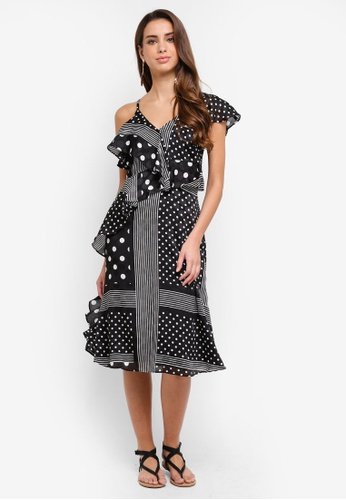 River Island black Polka Dot Tie Waist Midi Dress 365D7AACDF1374GS_1