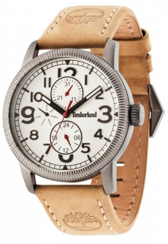 Timberland brown Timberland Erving TBL.14812JSU/07 Brown Leather Strap White Dial Ladies Watch TI063AC28EKPMY_1