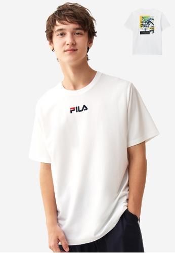 FILA white Embroidery FILA Logo Palm Tree Print T-shirt 1F2FDAA2E9DBD6GS_1