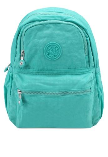 Bagstationz green Crinkled Nylon Fabric Small Backpack BA607AC0SYROMY_1
