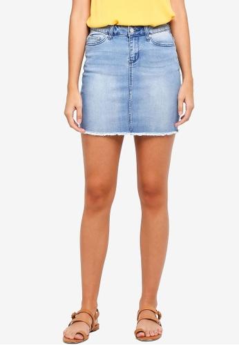 ONLY blue Pearl Raw Hem Skirt 78B61AA04CB500GS_1