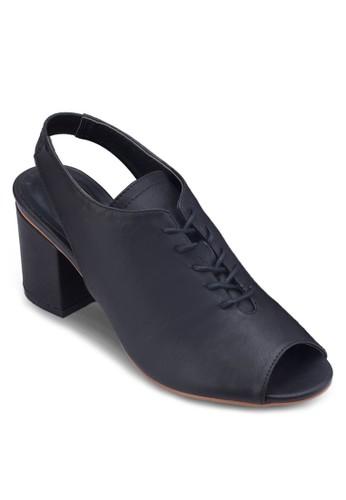 繞踝魚口繫帶粗跟鞋, 女鞋, zalora 衣服評價鞋