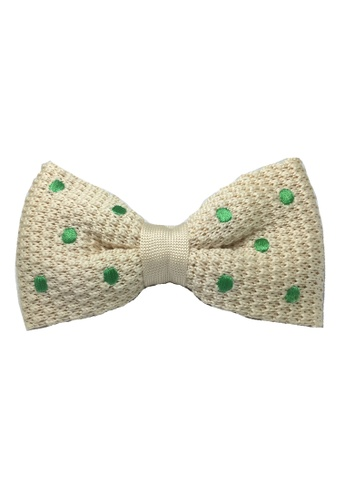 Splice Cufflinks white Webbed Series Green Polka Dots White Knitted Bow Tie SP744AC18UAFSG_1