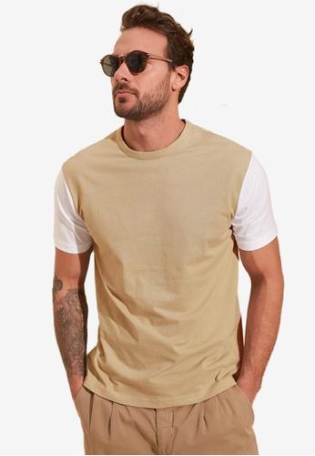 Trendyol beige Colorblock T-Shirt ECA25AA910E558GS_1