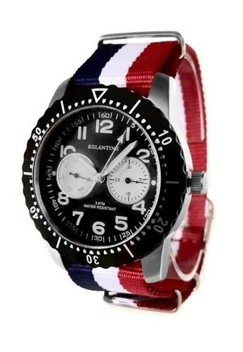 EGLANTINE silver EGLANTINE® Terrenz Unisex Steel Quartz WatchBlack Dial on Blue/White/Red NATO Strap 039D2AC9C0EB73GS_1
