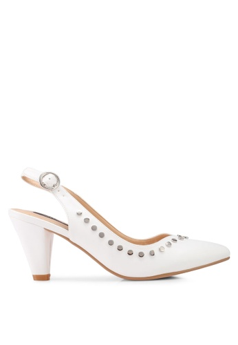 ZALORA white Side Studded Heels ADEF1SH0D64435GS_1