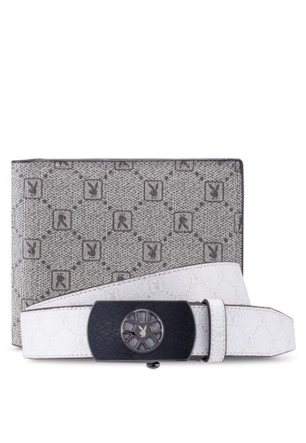 Playboy white and grey Belt & Wallet Gift Set 5B62FAC64F2560GS_1
