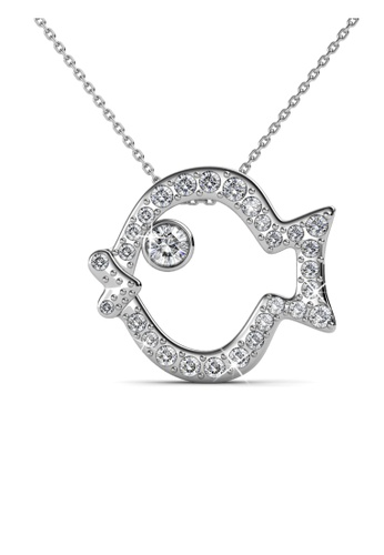 Her Jewellery silver Swarovski® Crystals -Pufferfish Pendant (18K White Gold Plated) Her Jewellery 7FD27AC737037FGS_1