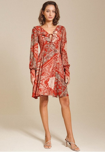 Dressing Paula orange Ruffled Print Chiffon Dress 433CAAA0F70CE0GS_1