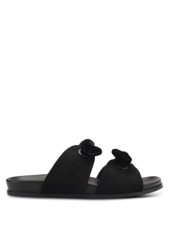 ZALORA 黑色 Double Bow Sandals B6C8ESHAC09607GS_1