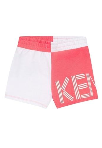 KENZO KIDS white and pink KENZO GIRLS SHORTS 31426KAF07D937GS_1