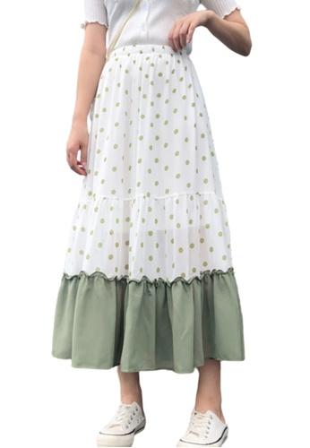 Halo green Dot Printed Chiffon Skirt F701DAA9ABF5C9GS_1