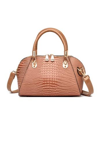 Lara beige Women's Crocodile-embossed Leather Handbag Shoulder Bag - Beige 645CAACE51120EGS_1