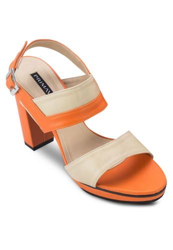 撞色繞踝esprit 會員卡粗跟涼鞋, 女鞋, 細帶高跟鞋