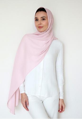 VELRIA pink WAFA Textured Chiffon Shawl in Pale Pink FC7EDAA97319D9GS_1