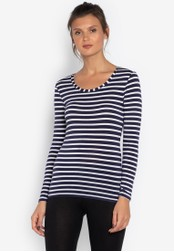 MARKS & SPENCER blue Heatgen™ Thermal Long Sleeve Striped Top 19789AAB1D8C2BGS_1
