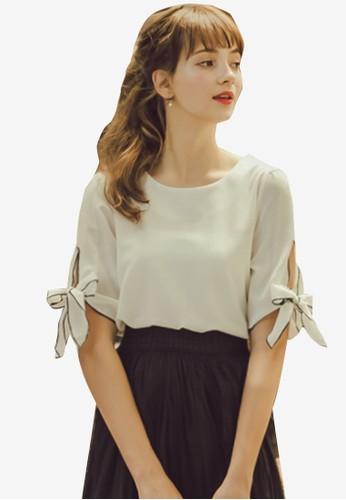 Eyescream white Bow Sleeves Blouse 24391AA1776EFCGS_1