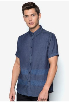 Foliage Printed Short Sleeve Denim Shirt