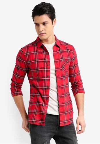 Topman 紅色 長袖修身格紋襯衫 B3B33AA917E21FGS_1