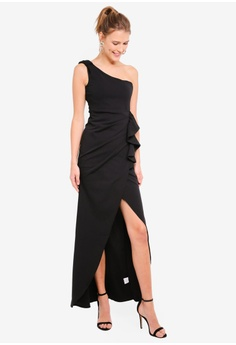 2333970bdcc6 Goddiva black One Shoulder Maxi With Frill Pleat 34747AAC89283FGS 1