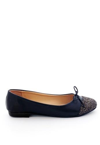 MINKA black GISEL Glitter Toe Flat Shoes MI006SH70TKBID_1