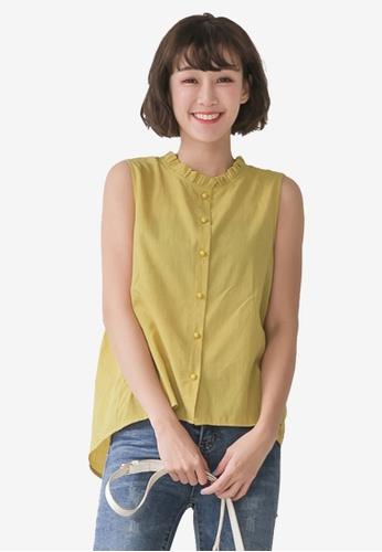 Tokichoi yellow Ruffle Neckline Button Front Sleeveless Top 491FFAAFB92271GS_1