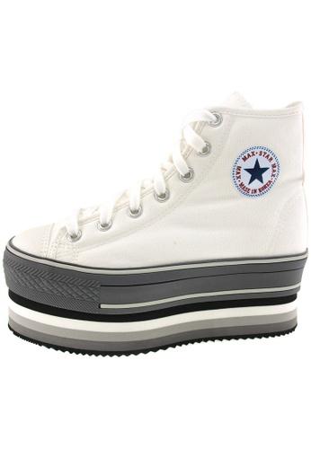 Maxstar 白色 新款韩国鞋CN7時尚帆布布混合女白色 US Women Size MA345SH81HFMTW_1