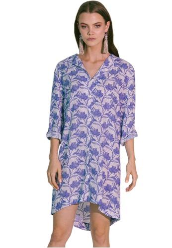 Akosée blue Storge Shirt Dress CA9B1AA2BE2F92GS_1