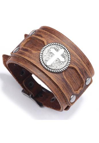 HAPPY FRIDAYS Cross Leather Bracelet QNW2629 F8800AC2007F3EGS_1