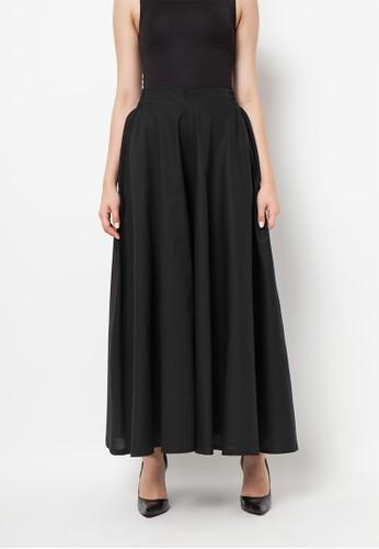 Meitavi's Rok Kulot Cotton Linen Culotte Skirt - Black
