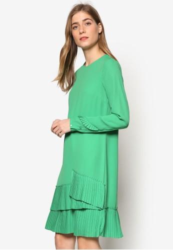 褶飾層次下擺長袖esprit門市地址連身裙, 服飾, 洋裝