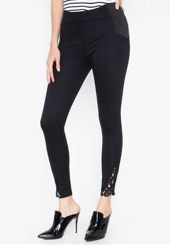 DEBENHAMS black Star By Julien Macdonald - Jm Lace Hem Legging CA7B4AABE93472GS_1