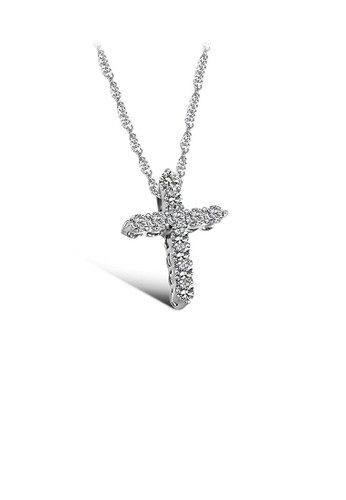 Glamorousky silver Fashion Brilliant Cross Pendant with Cubic Zircon and Necklace BDF8FAC5CBDF75GS_1