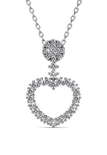 Her Jewellery silver and beige Love Rey Pendant -  Made with premium grade crystals from Austria HE210AC0FI4HSG_1
