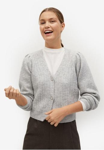 Mango grey Jewel Button Knit Cardigan 0CD0DAA8E77455GS_1