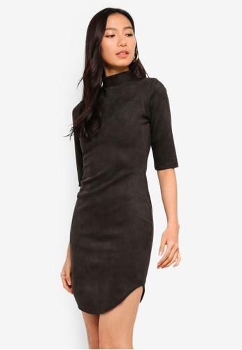 6d31e6ce234f MISSGUIDED black High Neck Short Sleeve Suede Mini Dress 2A2FEAA9F51DD7GS_1