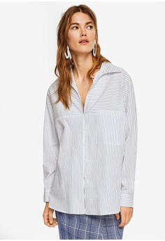MANGO white and multi Stripe-Patterned Shirt 1FC2DAA1CADF78GS_1