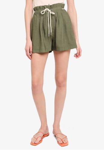 LC Waikiki green Belted Poplin Shorts DA295AA33C6689GS_1