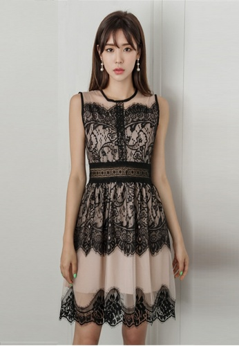 Buy Crystal Korea Fashion South Korea S New Lace Spell Color Dress