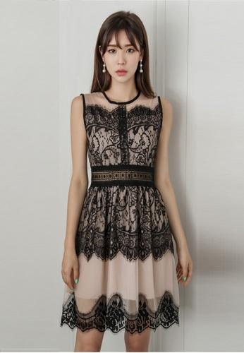 42b106e6994 Crystal Korea Fashion black South Korea s New Lace Spell Color Dress  BBFA2AA37D781DGS 1