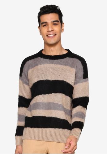 Mennace beige Distorted Animal Design Sweater C6FD7AAF473A70GS_1
