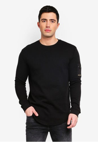 Only & Sons black Klaus Side Sleeve Pocket Sweatshirt 48B9BAA7E825E5GS_1