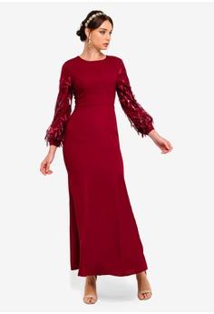 533a4d91cd47 Zalia red Foliage Sleeves Mermaid Dress 0A39FAAE7A3A9AGS_1
