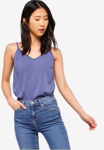 ZALORA BASICS grey Basic V-Neck Cami Top 49A69AA3B7F4AAGS_1