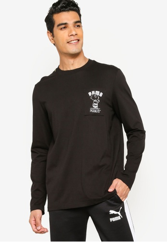 PUMA black PUMA x PEANUTS Long Sleeve Men's Tee F3CA7AA8A420D2GS_1