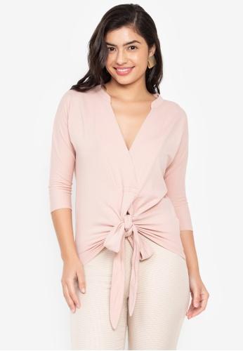 Wear Kris pink Karissa V Neck Cotton Pique Knit Top with Front Tie 1F386AA0812C67GS_1