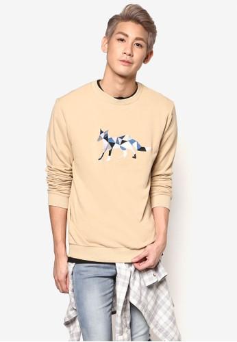 撞esprit outlet 家樂福色刺繡狐狸長袖衫, 服飾, 外套