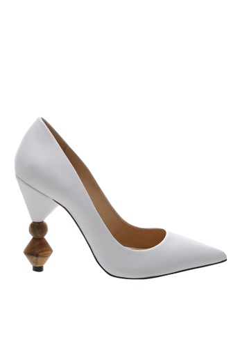 SCHUTZ white White Leather Wood Heel Pumps - S/PLINIA [WHITE] DC98DSHE1F7274GS_1