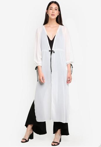 ZALORA white Longline Contrast Stitch Detail Cardigan 1F39DAA09E1605GS_1