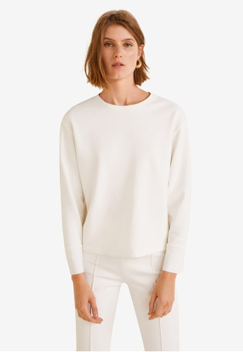 Mango white Textured Sweatshirt CAECEAACCA6822GS_1